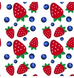 Background fresh strawberries and blueberriesof vector