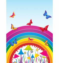 butterflies and rainbow vector image