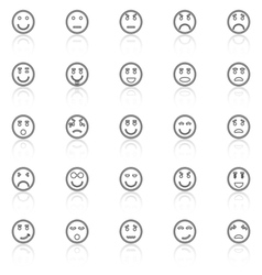 Circle face line icons with reflect on white vector image