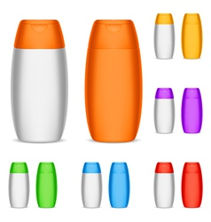 Color shampoo bottles vector