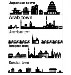 Detailed skylines of different towns vector