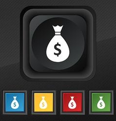 dollar money bag icon symbol Set of five colorful vector image