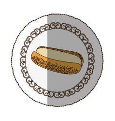 emblem hot dog bread icon vector image