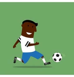 Football or soccer player dribbling a ball vector