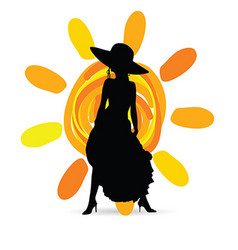 Girl in dress with sun silhouette vector
