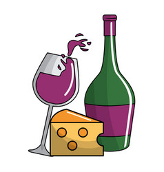 Glass splashing and bottles wine and cheese icon vector