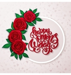 Happy womens day lettering with frame red vector