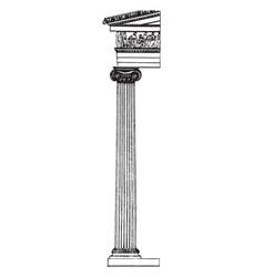 Ionic column platform vintage engraving vector