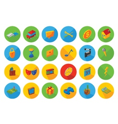 isometric flat icon set vector image vector image