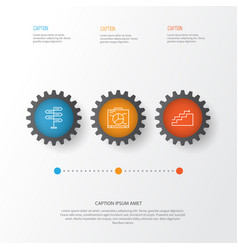 Management icons set collection of growth board vector