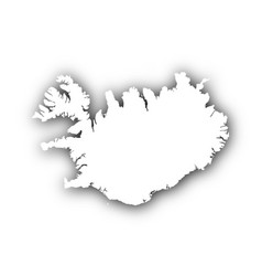Map of iceland with shadow vector