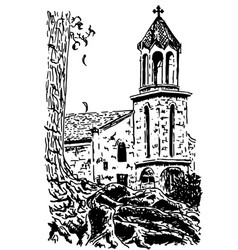 Old european church hand drawn ink sketch vector