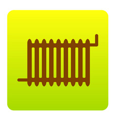 radiator sign brown icon at green-yellow vector image vector image