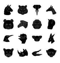 Realistic animals set icons in black style big vector