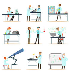 scientists at work in a lab and an office set of vector image