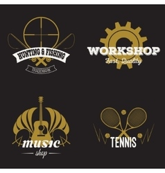 Set of retro labels gold vintage design vector image