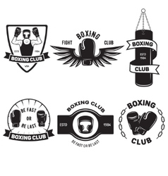 Set of vintage boxing emblems labels badges logos vector
