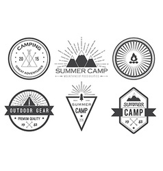Set of vintage summer camp badges and other vector image