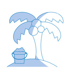 Silhouette palm with bottle of sand in the beach vector