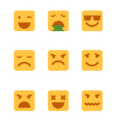 squared emoticons icons set vector image vector image