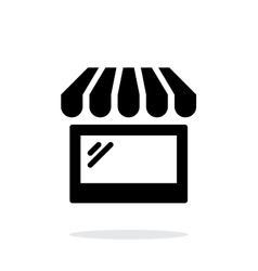 Storefront shop glass case icon on white vector
