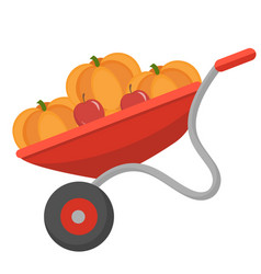 wheelbarrow with pumpkins icon flat style vector image