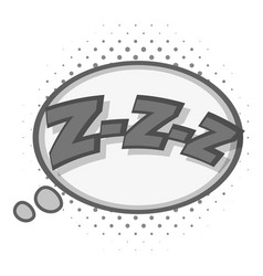 Zzz speech bubble icon monochrome vector