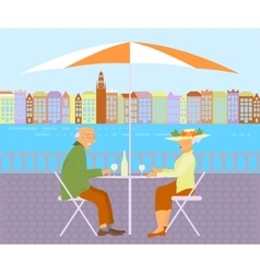 Grandparents in street cafe vector