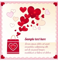 Red paper shopping bag with flying hearts vector image
