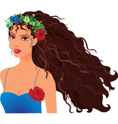 girl in wreath vector image