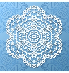 Ornate lacy white paper napkin vector