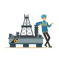 oilman standing next to an oil rig drilling vector image