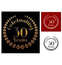 Golden foliate wreathes for anniversary design vector image