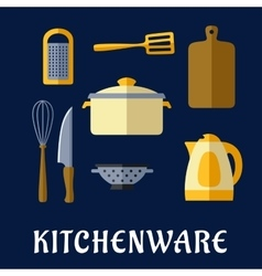 Kitchenware and utensil isolated flat icons vector