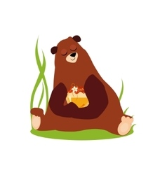 Cartoon Bear Hugging Honey in vector image