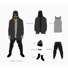 Glasses with a cap pants with a hoodie vector