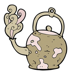 Comic cartoon old tea pot vector