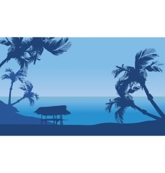Hut in seaside scenery silhouette vector