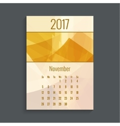 Monthly calendar for 2017 vector