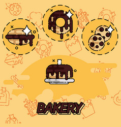 Bakery flat concept icons vector