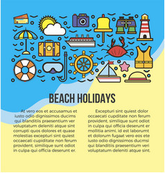Beach holidays information list vector