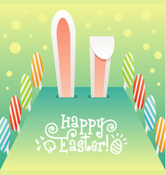 Big easter rabbit ears easter eggs and drawn text vector