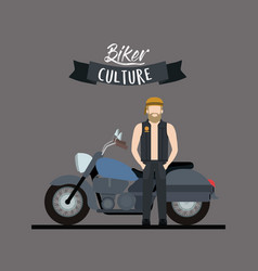 Biker culture poster with blond man and classic vector