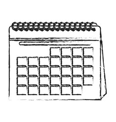 Blurred silhouette cartoon calendar with spiral vector