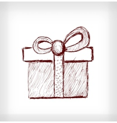 Christmas gift with bow vector image