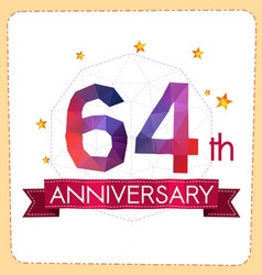 Colorful polygonal anniversary logo 2 064 vector