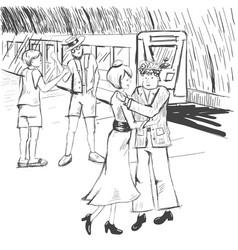 Comic strip people say goodbye at the subway a vector