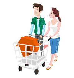 Couple buying a house vector