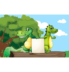 Crocodiles at the top of a trunk holding an empty vector image vector image