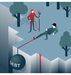 Debt takes off man over a cliff vector